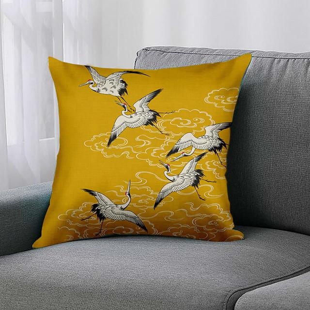 مزدوج الجانب 1 قطعة غطاء وسادة الطيور طباعة 45x45 سم الكتان لغرفة نوم الأريكة