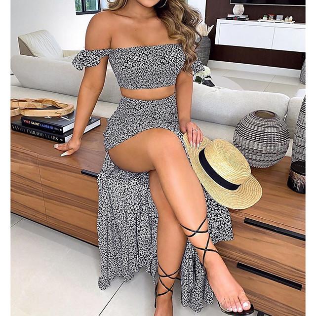 여성용 투피스 드레스 맥시 드레스 클로버 블랙 네이비 블루 민소매 프린트 여름 오프 숄더 캐쥬얼 2021 S M L XL