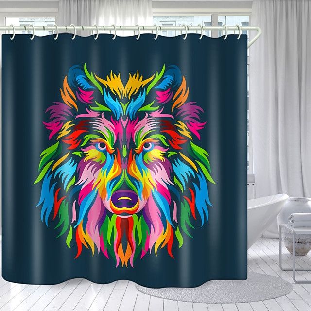 Deep Colored Wolf Head Digital Printing Shower Curtain Shower Curtains  Hooks Modern Polyester New Design