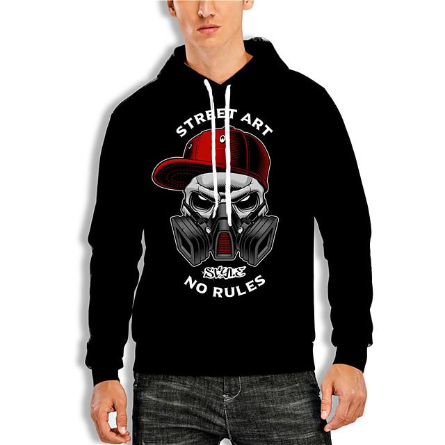 Men's Cartoon Graphic Prints Pullover Hoodie Sweatshirt Print 3D Print Daily Sports 3D Print Casual Hoodies Sweatshirts  Black