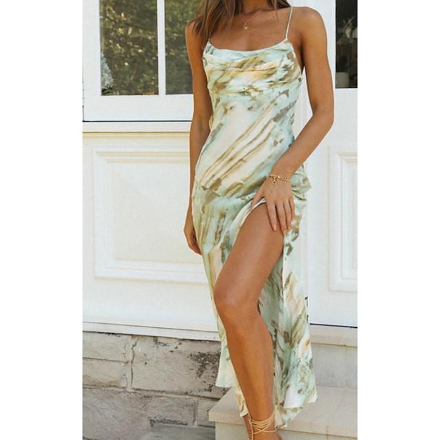 نسائي فستان شيفت فستان ميدي أخضر فاتح زهري بدون كم طباعة طباعة الصيف كاجوال 2021 S M L XL