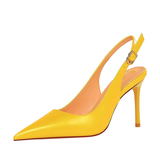 Women's Heels Stiletto Heel Pointed Toe Patent Leather Buckle Solid Colored White Black Yellow