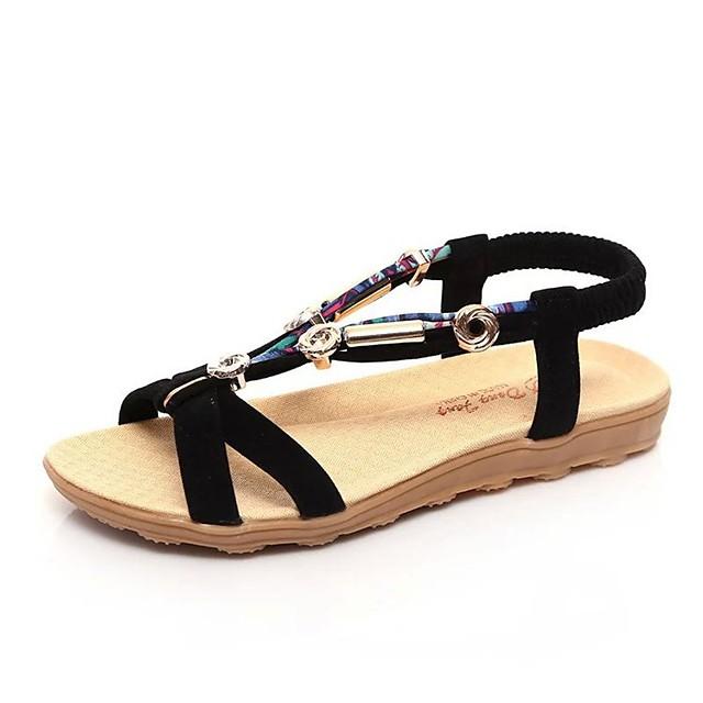 Women's Sandals Boho Bohemia Beach Flat Heel Peep Toe Flat Sandals Casual Daily Walking Shoes PU Solid Colored Black Red Beige