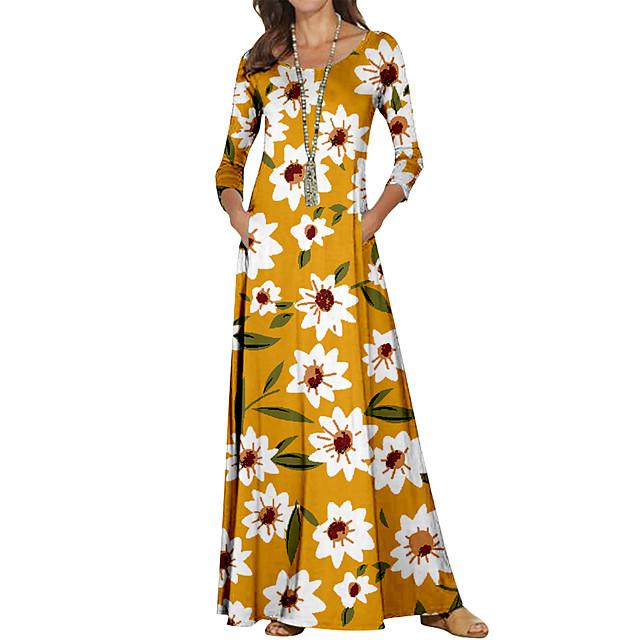نسائي فستان شيث فستان طويل أسود أصفر كم طويل ورد ألوان متناوبة طباعة الخريف الربيع رقبة دائرية كاجوال 2021 S M L XL XXL 3XL