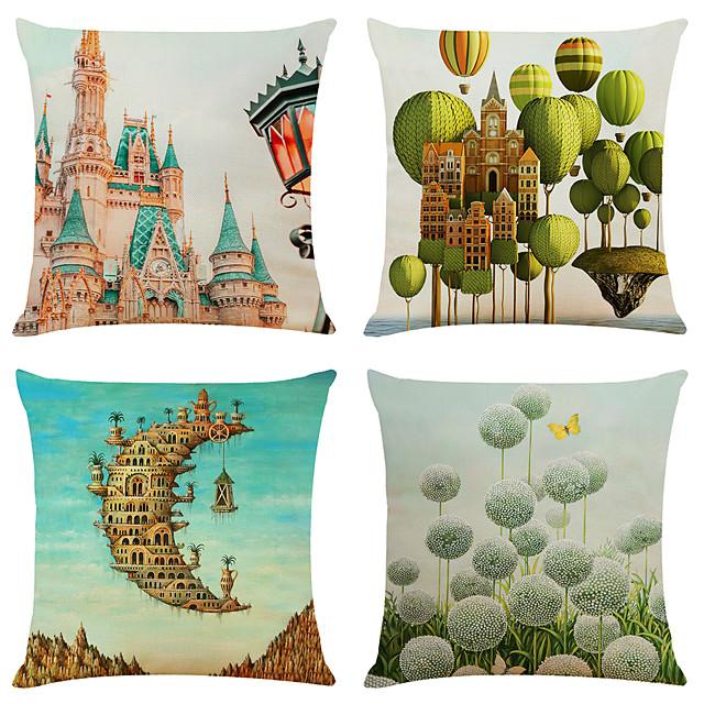 4 pcs Linen Pillow Cover, 3D Simple Classic Square Zipper Traditional Classic