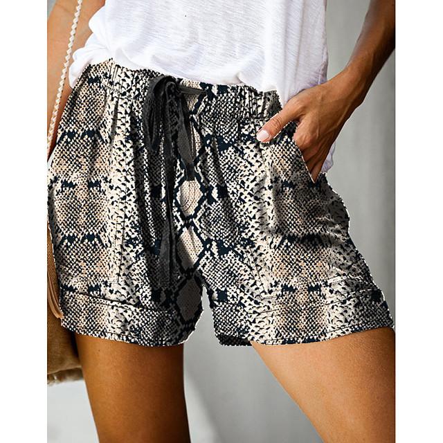 Women's Stylish Streetwear Comfort Daily Beach Shorts Pants Snake Print Short Elastic Waist Print Dusty Rose Fuchsia Grey