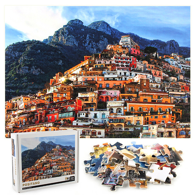 1000 pcs House Landscape Jigsaw Puzzle Educational Toy Adult Puzzle Gift Stress and Anxiety Relief Adorable Decompression Toys Parent-Child Interaction Cardboard Paper Kids Adults' Toy Gift