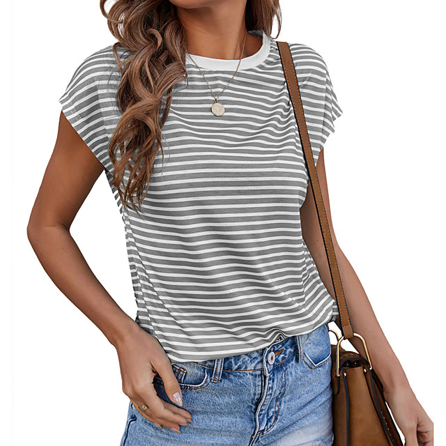 Women's T shirt Striped Color Block Print Round Neck Tops Basic Sexy Basic Top Blue Gray