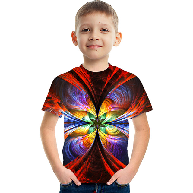 Kids Boys' Tee Short Sleeve Graphic Children Tops Active Rainbow 3-12 Years