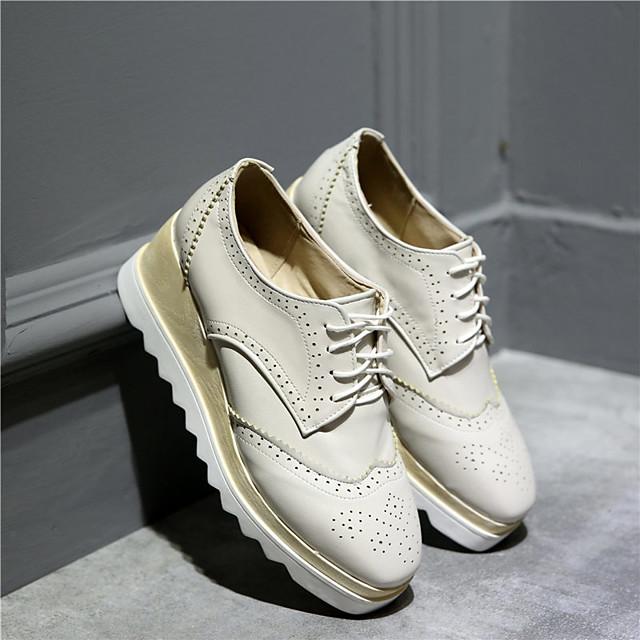 نسائي أوكسفورد منصة أمام الحذاء على شكل دائري PU المواد التركيبية أسود أصفر البيج