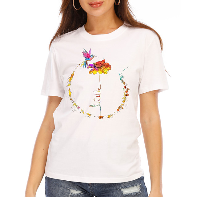 Women's T shirt Graphic Floral Print Round Neck Tops 100% Cotton Basic Basic Top White Black