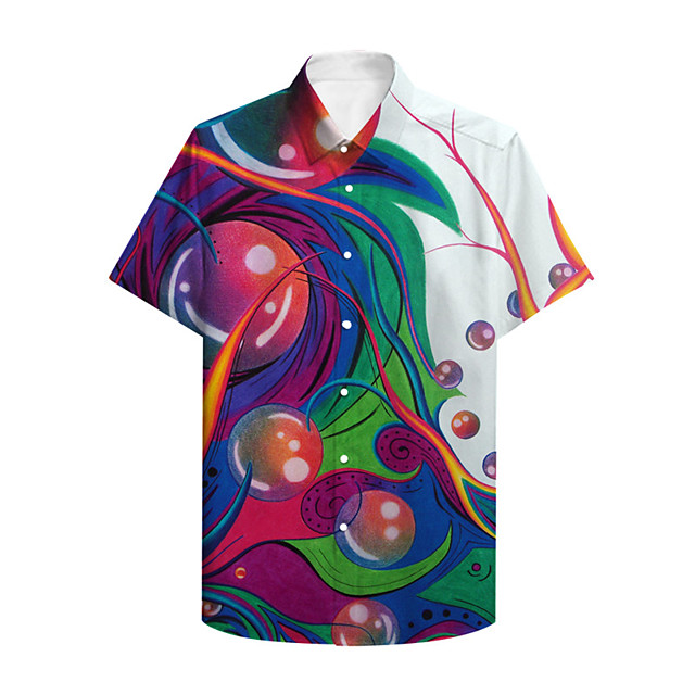 Men's Shirt 3D Print Graphic Graphic Prints Button-Down Print Short Sleeve Daily Tops Casual Hawaiian Rainbow