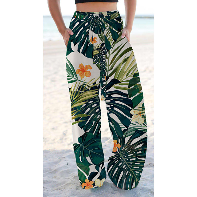 Women's Basic Chino Comfort Going out Beach Pants Pants Butterfly Flower / Floral Short Elastic Drawstring Design Print Green