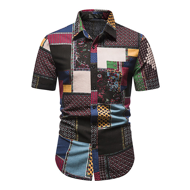 Men's Shirt Other Prints Abstract Short Sleeve Daily Tops 100% Cotton Green / Red