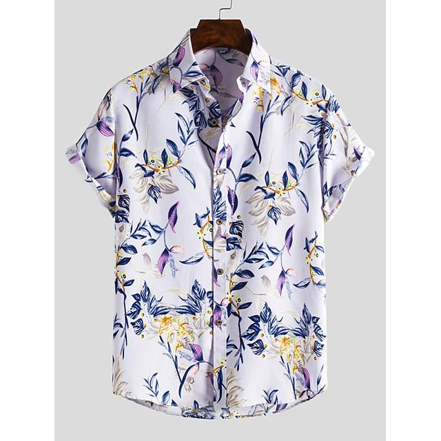 Men's Shirt Other Prints Zebra Print Short Sleeve Daily Tops Beach Boho Purple