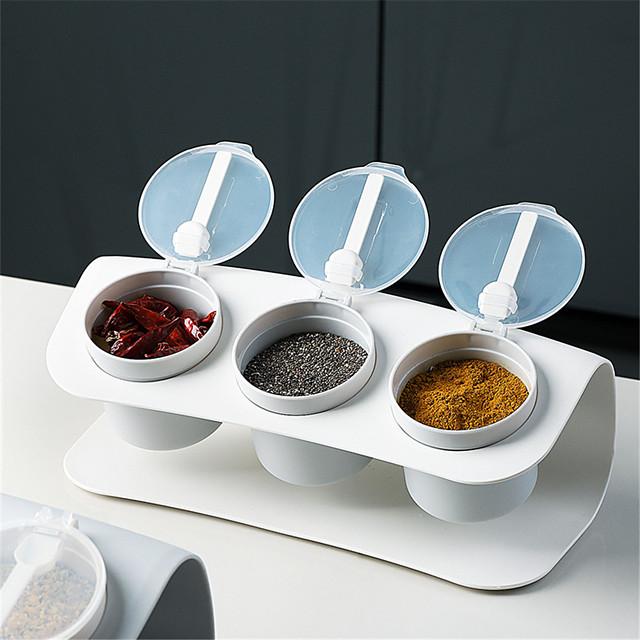 boîte d'assaisonnement ensemble à trois compartiments combinaison de cuisine salière en plastique boîte de rangement d'assaisonnement étanche à l'humidité