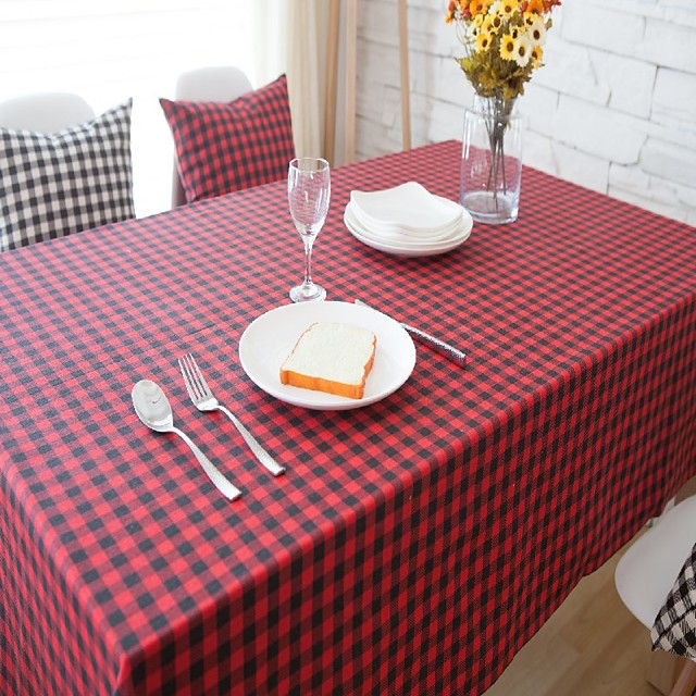 Table Cloth Linens Dust-Proof Country Lattice Tabel cover Table decorations for Daily Wear rectangule 40*60 cm Black and white grid 1 pcs