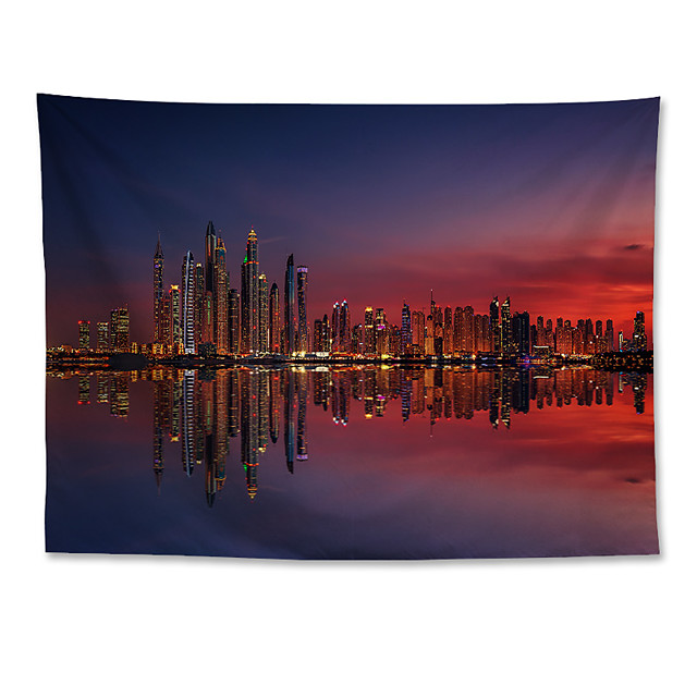 Wall Tapestry Art Decor Blanket Curtain Hanging Home Bedroom Living Room Decoration Polyester Dubai Marina Sunset City Night Scenery