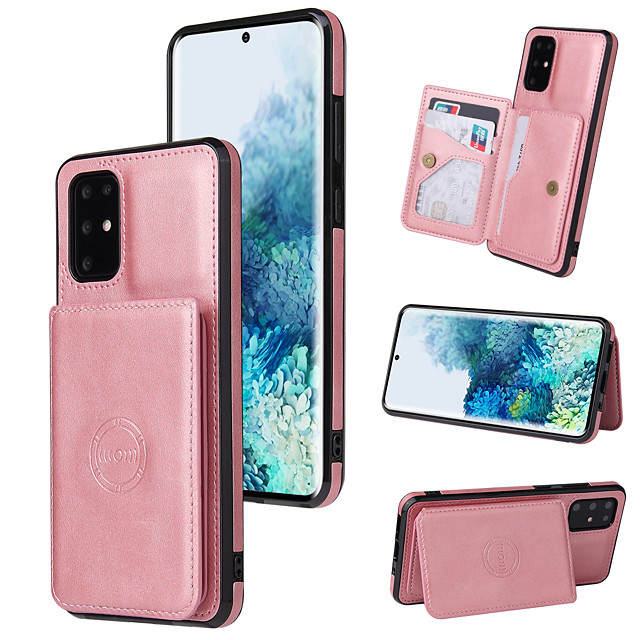 Phone Case For Samsung Back Cover Wallet Card S21 S21 Plus S21 Ultra S20 S20 Plus S20 ultra S20 FE 5G Note 20 Ultra S10 S10 + Wallet Card Holder Shockproof Solid Colored PU Leather TPU