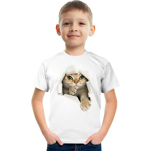 Kids Boys' T shirt Tee Short Sleeve Cat Graphic Animal White Children Tops Summer Active Cute