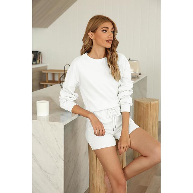 Women's Basic Streetwear Plain Daily Two Piece Set Tracksuit T shirt Shorts Drawstring Tops