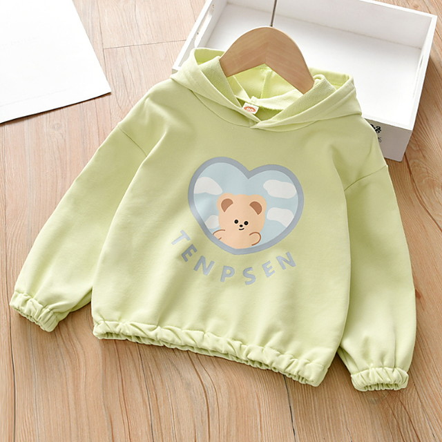Kids Girls' Hoodie & Sweatshirt Long Sleeve Graphic Print Children All Seasons Tops Basic Regular Fit Purple Blushing Pink Green 3-6 Years