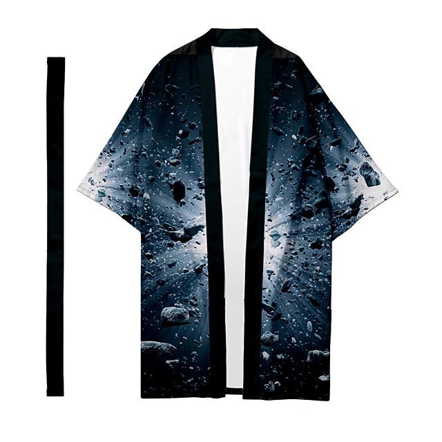 قميص رجالي 3D طباعة نيزك طباعة ثلاثية الأبعاد طباعة ثلاثية الأبعاد فضفاض كم طويل قمم كاجوال موضة متنفس مريح أسود