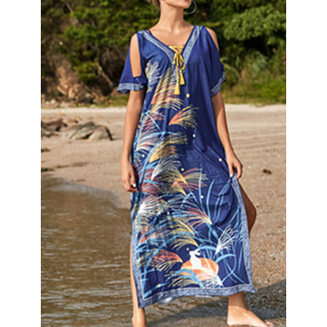 Women's Swimsuit Cover Up Beach Top Swimsuit Drawstring Tassel Color Block Abstract Blue Yellow Swimwear T shirt Dress Tunic V Wire Bathing Suits New Fashion Sexy