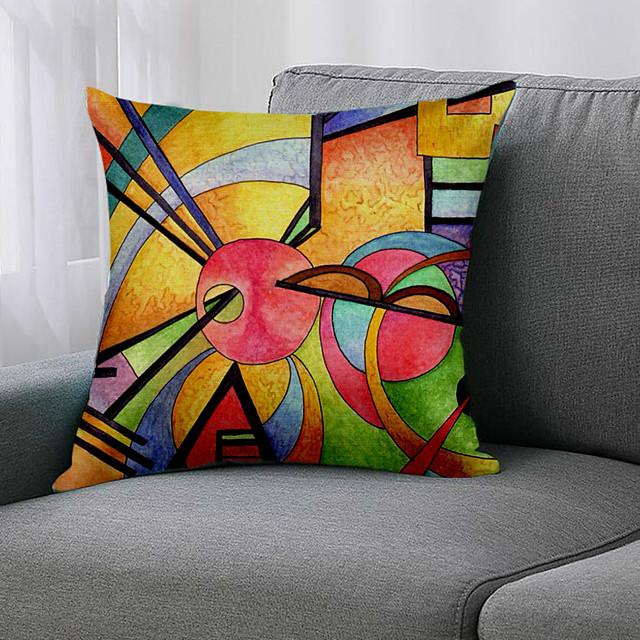 Double Side 1 Pc Geometri Cushion Cover  Print 45x45cm Linen for Sofa Bedroom
