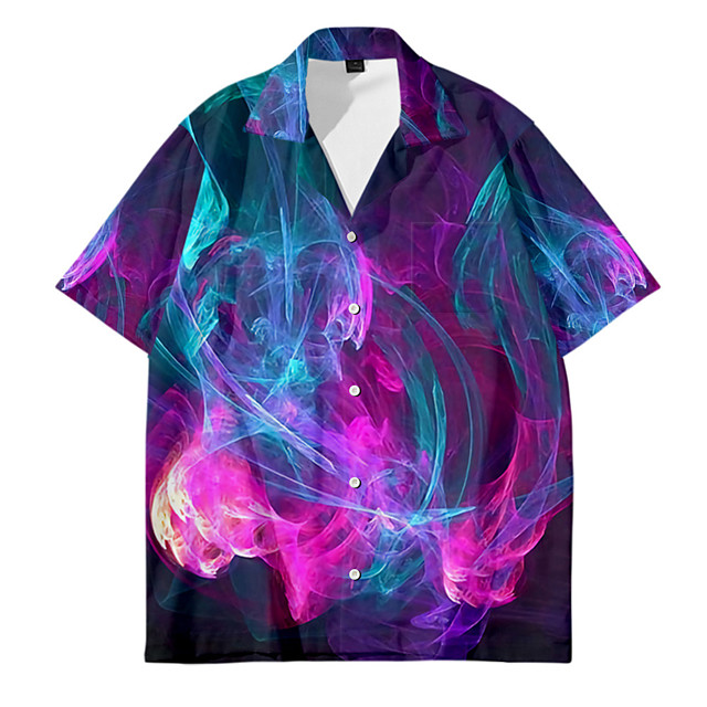 قميص رجالي برق طباعة ثلاثية الأبعاد زر أسفل طباعة ثلاثية الأبعاد فضفاض كم قصير قمم كاجوال موضة متنفس مريح أرجواني