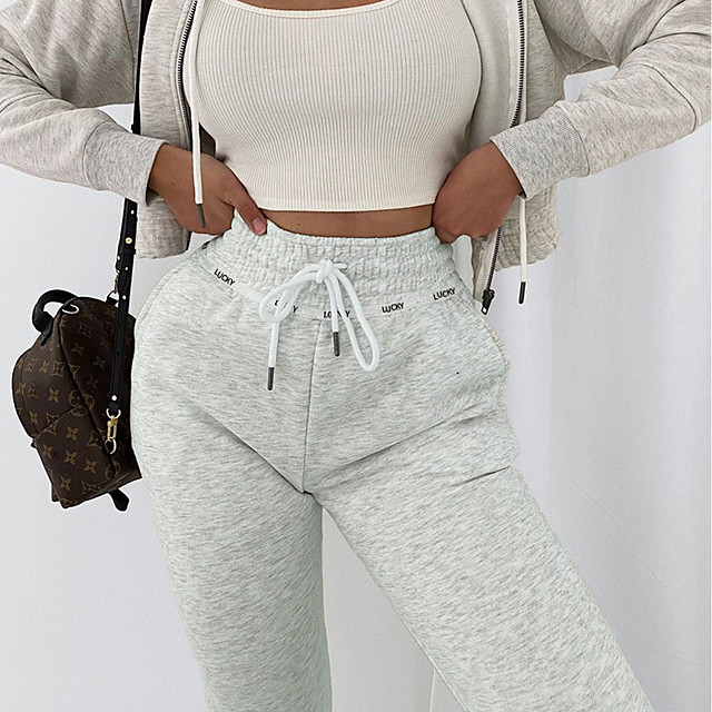 Women's Casual / Sporty Streetwear Comfort Leisure Sports Weekend Sweatpants Pants Solid Colored Full Length Drawstring Pocket Black Gray