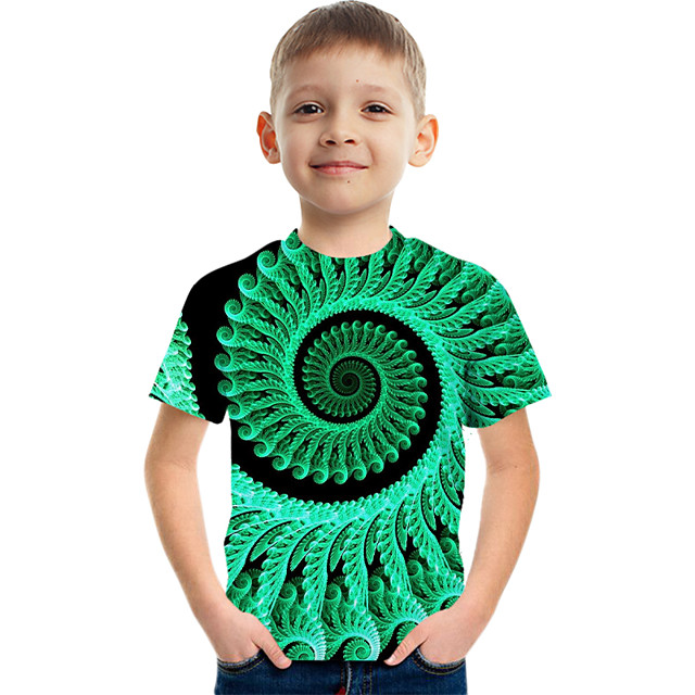 أطفال للصبيان كنزة مطبوعة كم قصير الرسم أطفال قمم نشيط أخضر 3-12 سنة