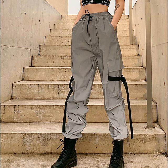 Women's Streetwear Chino Comfort Club Weekend Pants Pants Color Block Full Length Elastic Waist Luminous Grey