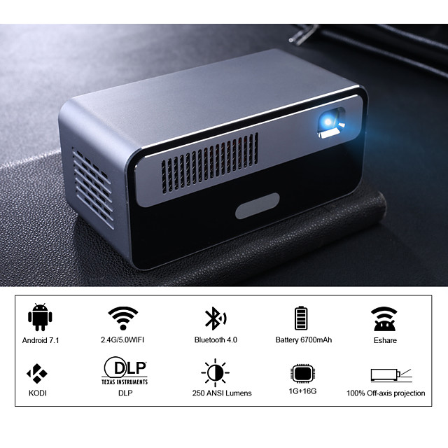 HDP300 Mini Projector Projector LED 170 lm WIFI Projector Android 7.1
