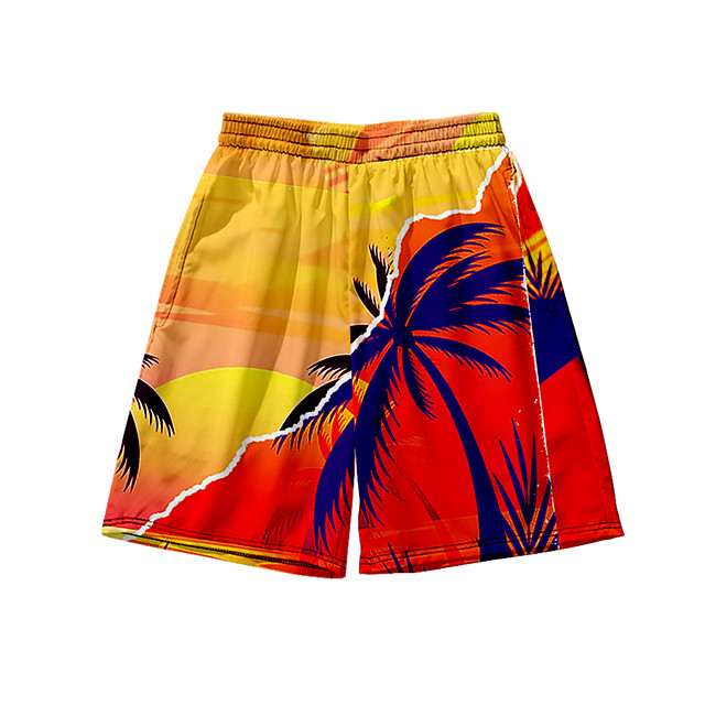 Men's 3D Print Shorts Daily Holiday Shorts Pants Graphic Graphic Prints Short Sporty Print Orange