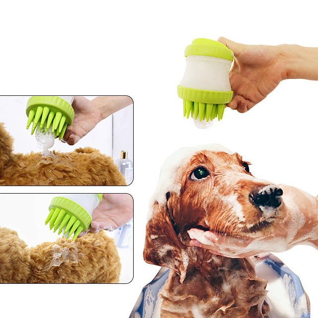 Dog Cat Pet Bath & Massage Brush Silica Gel Dog Clean Supply Pet Hair Remover Massage Easy to Clean Soft Rubber Bristles Pet Grooming Supplies Red Blue Green