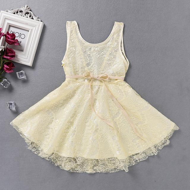 Kids Little Girls' Dress Solid Colored Sundress Print Beige Knee-length Long Sleeve Active Dresses Summer Regular Fit 2-6 Years