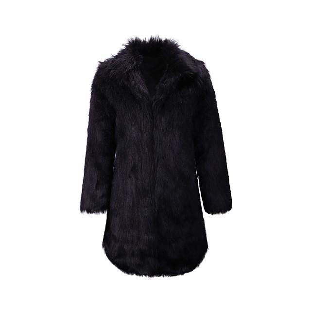 Per donna Cappotto di pelliccia Tinta unita Inverno Lungo Per uscire Manica lunga Pelliccia sintetica Cappotto Top Nero