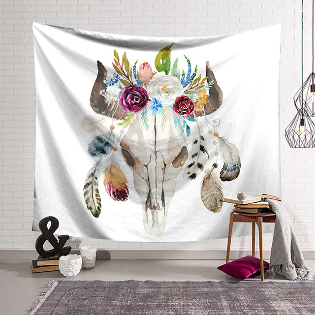 Wall Tapestry Art Decor Blanket Curtain Hanging Home Bedroom Living Room Decoration Polyester Head Flower Feather