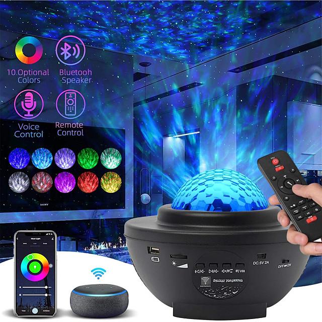 Projecteur ciel etoile,veilleuse enfant Led Lampe Projecteur Étoile de Rotatif Nuage,10 couleurs,Télécommandées,Lecteur Musique avec Bluetooth et Minuteri