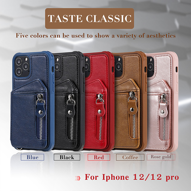 Phone Case For Apple Back Cover Wallet Card iPhone 12 Pro Max 11 SE 2020 X XR XS Max Wallet Shockproof Solid Colored PU Leather TPU