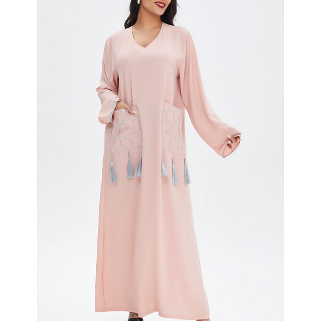 Women's A Line Dress Maxi long Dress Blue Blushing Pink Long Sleeve Solid Color Patchwork Summer Round Neck Casual 2021 M L XL XXL