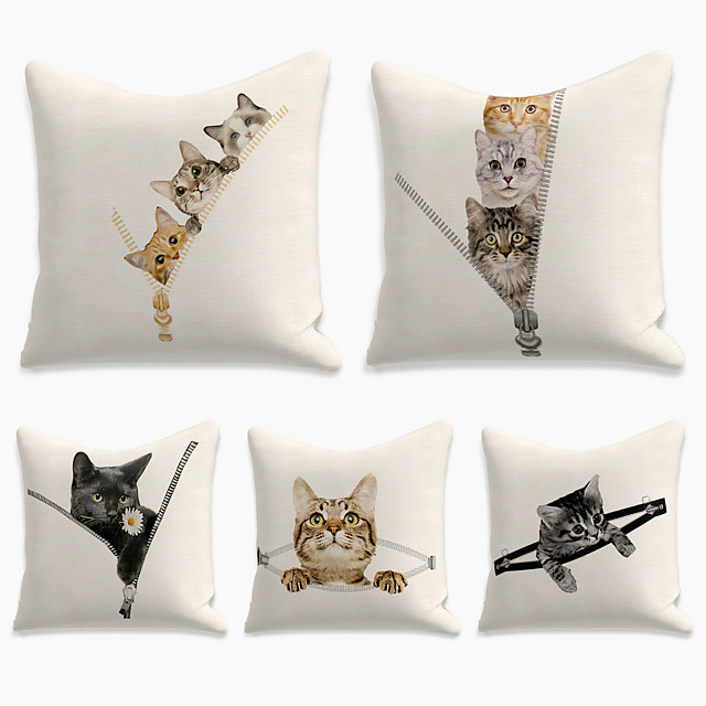 Cushion Cover 5PCS Linen Soft Print Square Throw Pillow Cover Cushion Case Pillowcase for Sofa Bedroom 45 x 45 cm (18 x 18 Inch) Superior Quality Mashine Washable