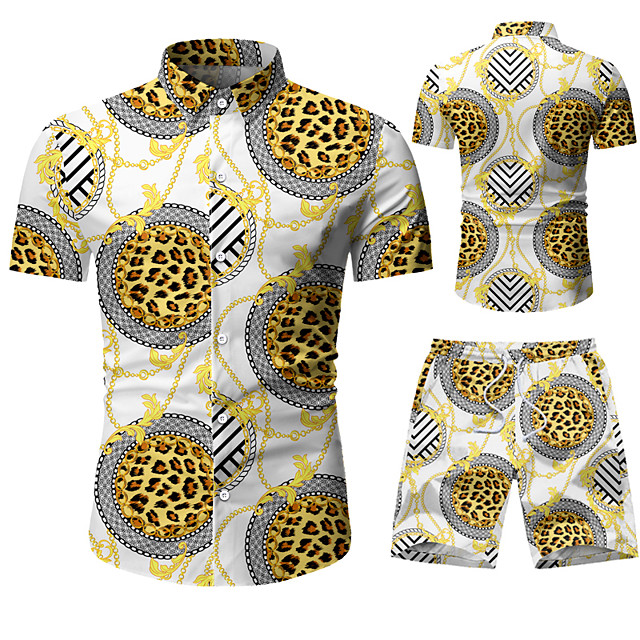 Men's Shirt Other Prints Graphic Prints Print Short Sleeve Vacation Tops Yellow