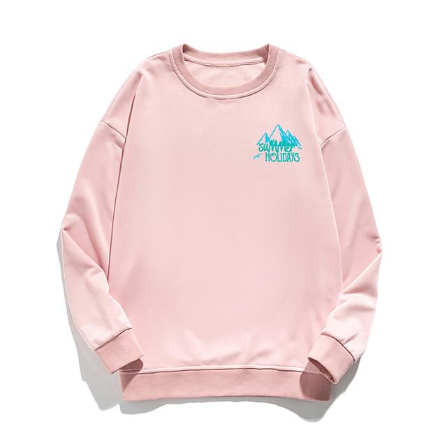 Women's Pullover Sweatshirt Stone Print Daily Other Prints Basic Hoodies Sweatshirts  White Blue Blushing Pink
