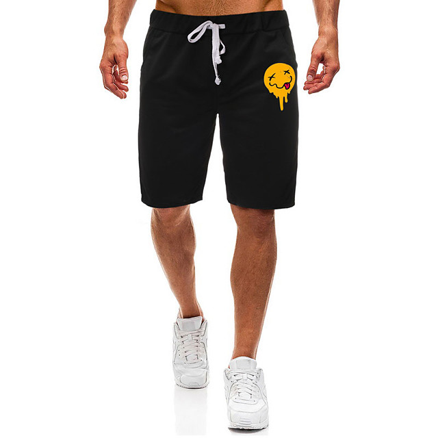 Men's Casual / Sporty Athleisure Daily Gym Shorts Pants Graphic Short Pocket Elastic Drawstring Design Print Black Light Grey
