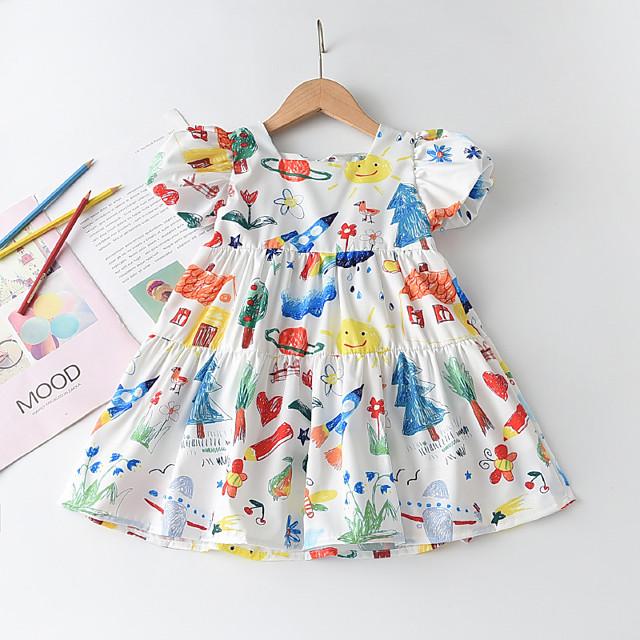 Kids Little Girls' Dress Cartoon Graphic Print White Short Sleeve Cute Dresses Regular Fit