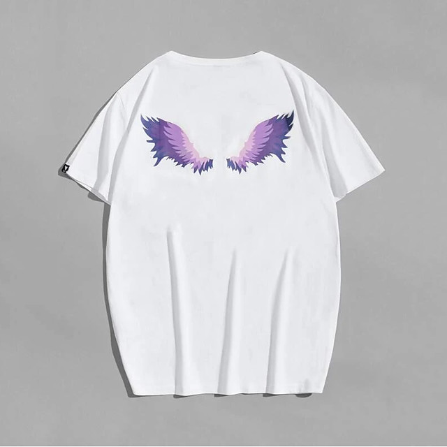 Men's T shirt Hot Stamping Wings Print Short Sleeve Casual Tops 100% Cotton Basic Casual Fashion White