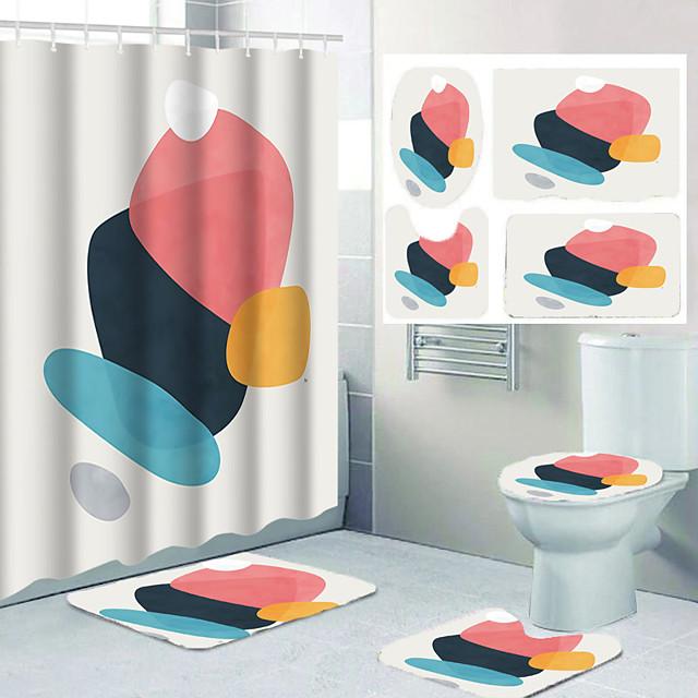 Geometric Figure Bathroom Shower Curtain Leisure Toilet Four-piece Set
