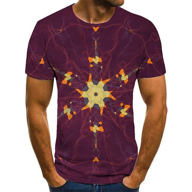 Men's T shirt 3D Print Geometric 3D Print Print Short Sleeve Casual Tops Casual Fashion Wine